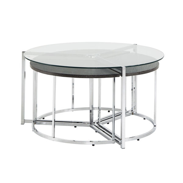 Alexia Chrome Cocktail Table Set with Glass Top, image 2